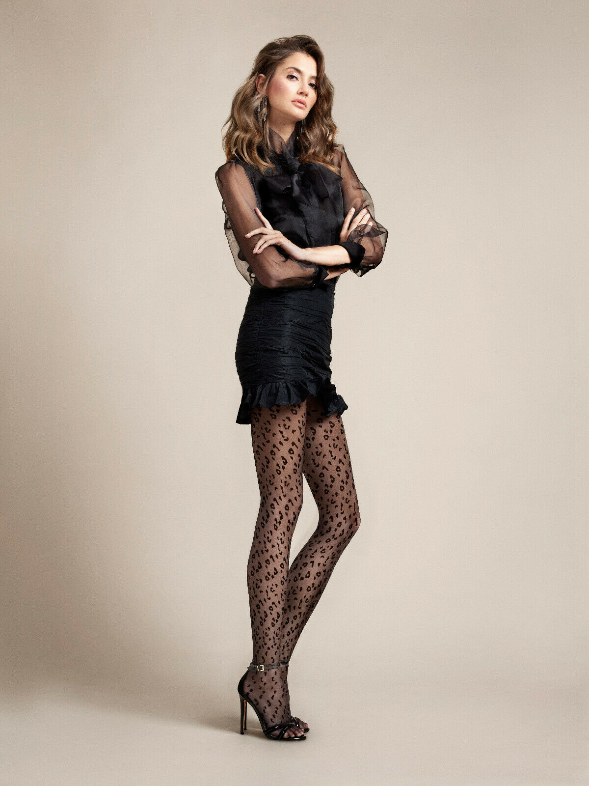 Fiore Claudia Black Leopard Tights
