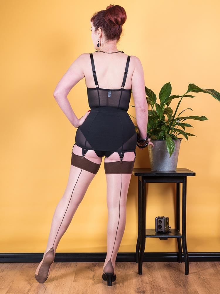 Champagne with Coffee Contrast Seamed Stockings
