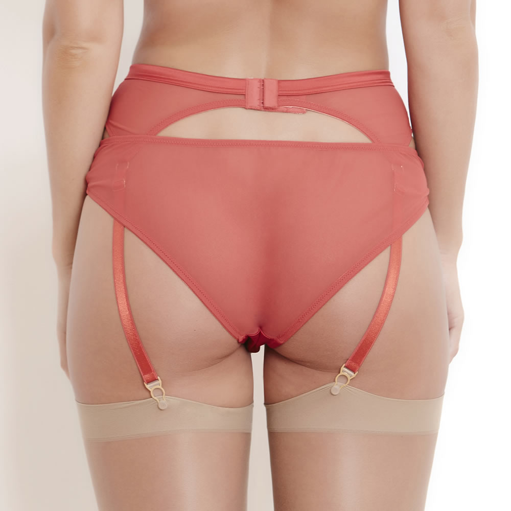 Katherine Hamilton Sophia Red Silk Suspender Belt
