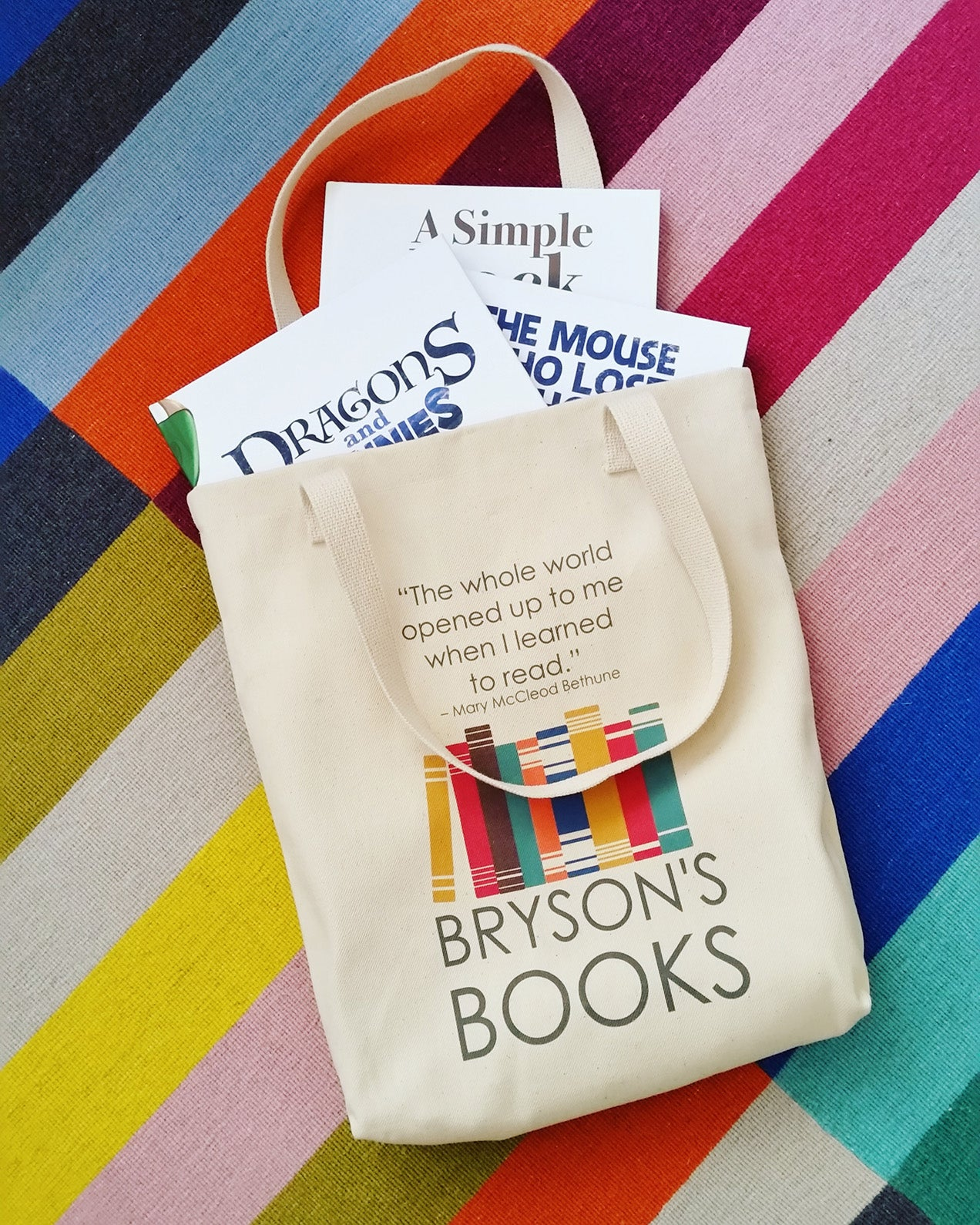 Bryson's Books bag with books social media image example