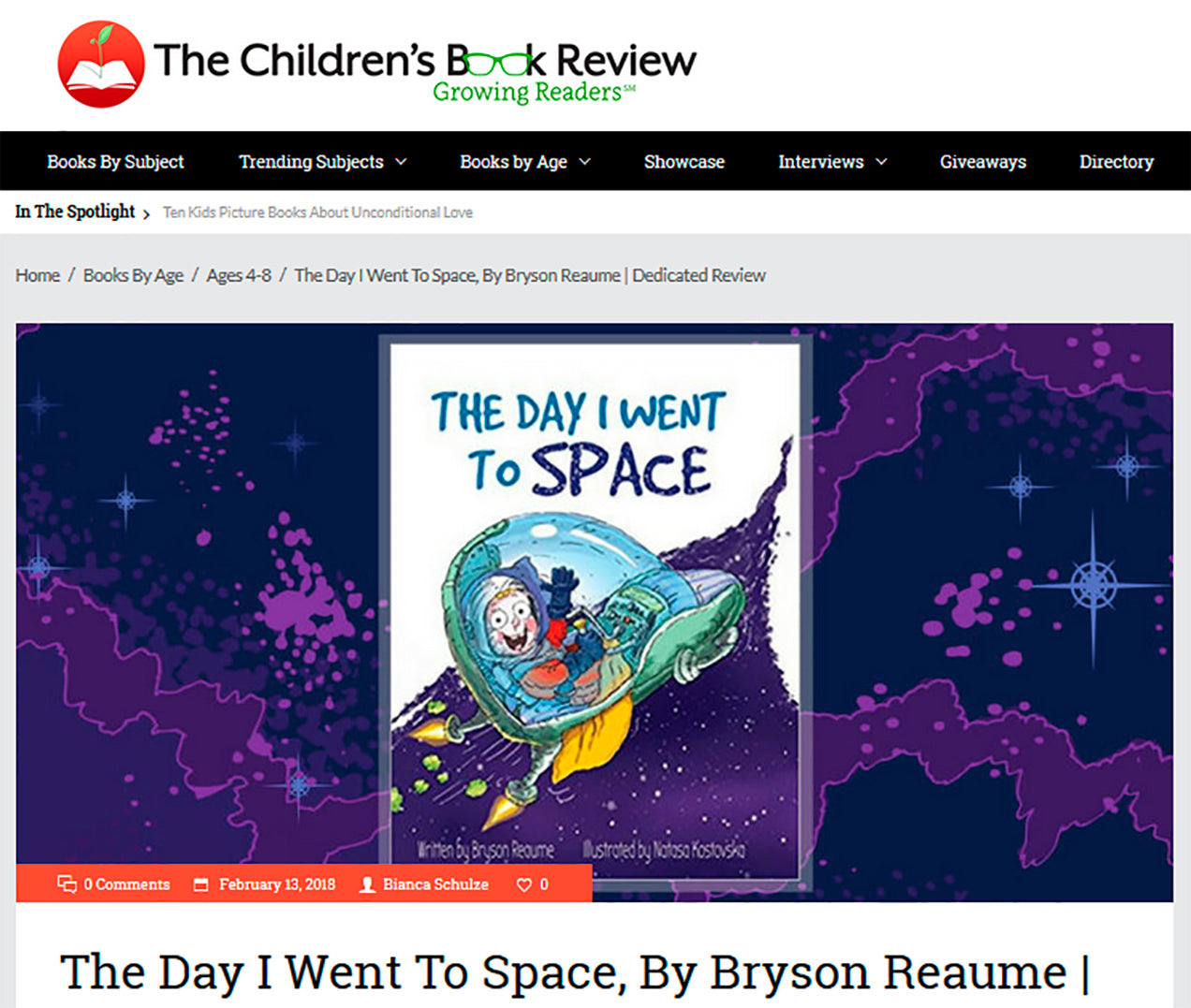 The Day I Went to Space reviewed on The Children's Book Review