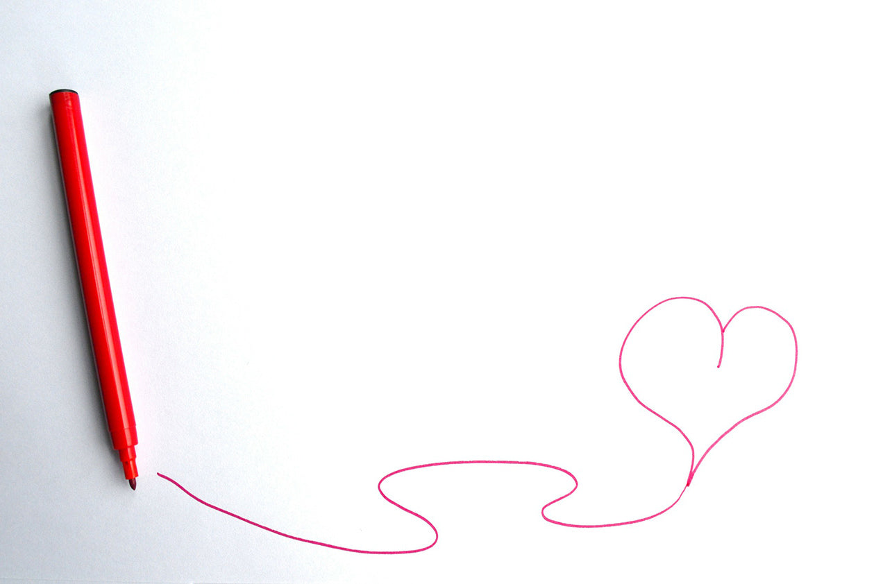 read heart drawing valentines day