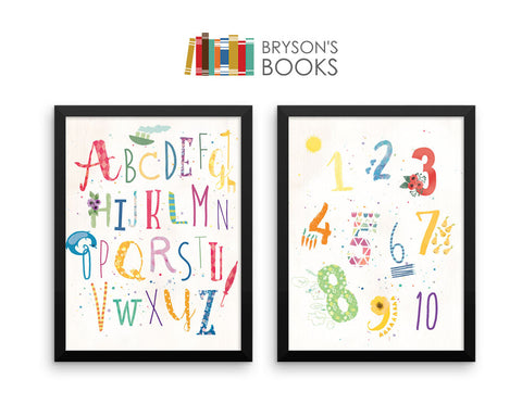 1, 2, 3 Counting Numbers Framed Nursery Print