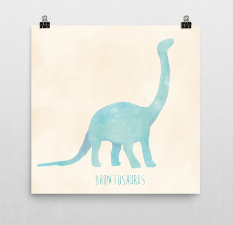 Dinosaur Nursery Print – Blue and Cream Brontosaurus