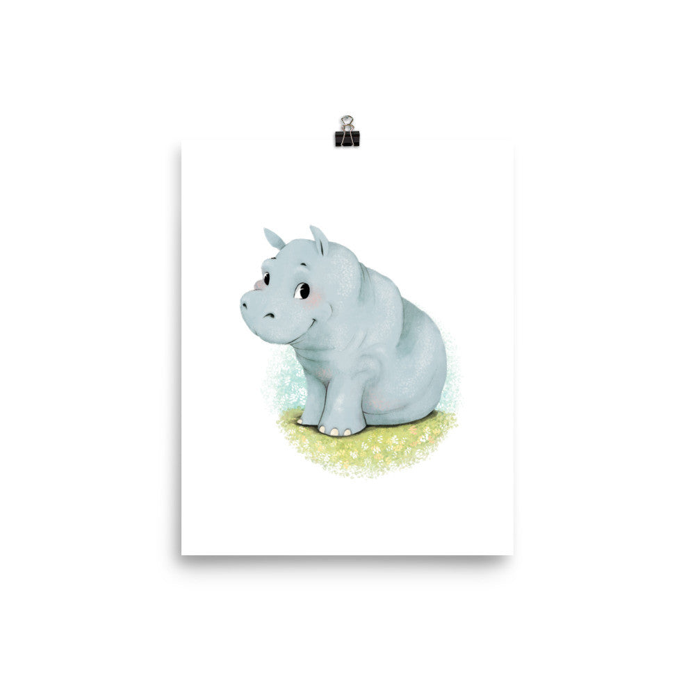Animal Nursery Print – Baby Hippo