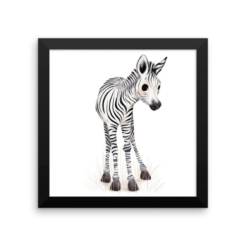 Animal Framed Nursery Print – Baby Zebra