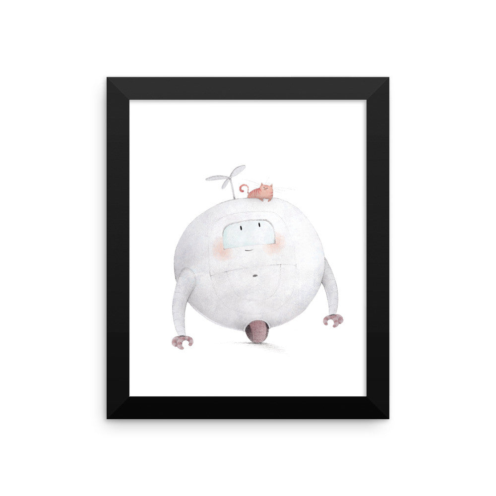 Robot with Cat Framed Nursery Print