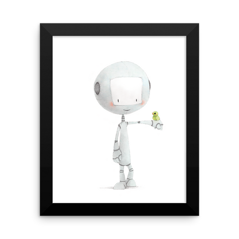 Robot with Bird Framed Nursery Print