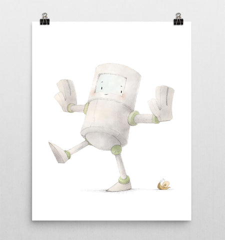 Robot with Snail Nursery Print