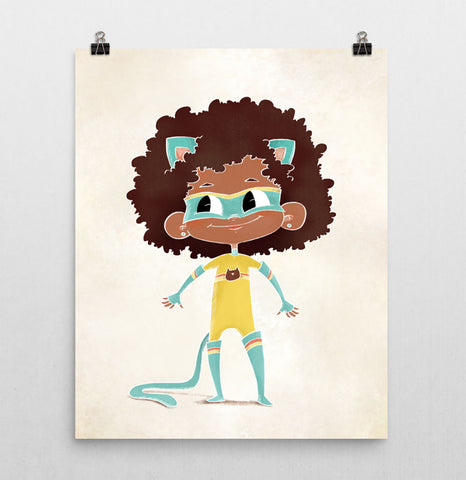 Superhero Nursery Print – Cat Girl