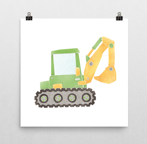 Construction Truck Nursery Print - Green Excavator