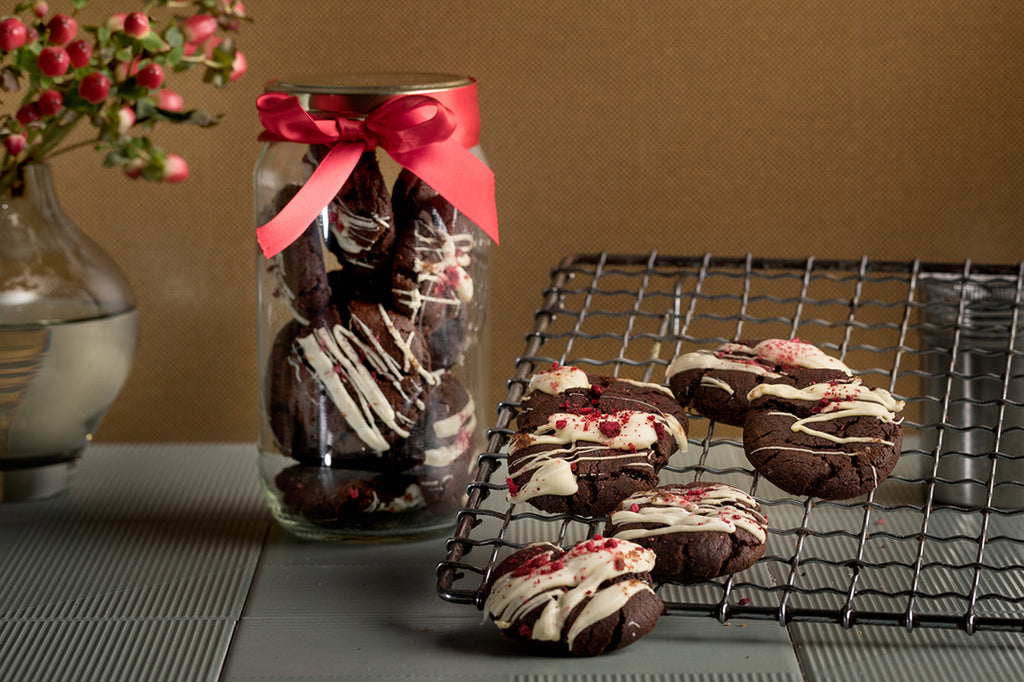 Raspberry Chocolate Drizzle Cookies