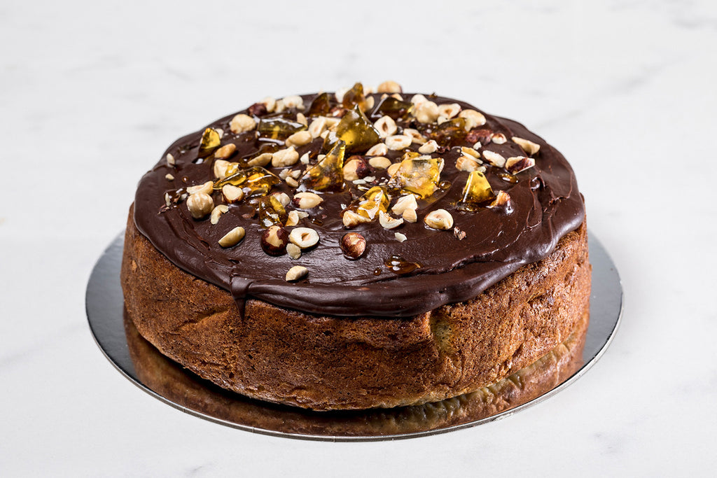 Ricotta and Hazelnut Cake with Dark Chocolate Drizzle