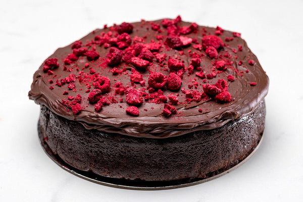 Raspberry Chocolate Mud-cake with Double Chocolate Ganache