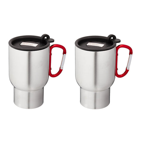 AGS Brand Stainless 14oz Carabiner Travel Mugs - 2 Pack (Red)-Beverage Containers-AGS Brands-Garibaldi General