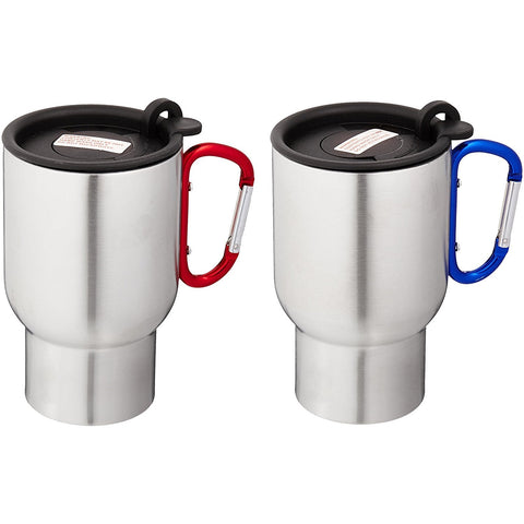 AGS Brand Stainless 14oz Carabiner Travel Mugs - 2 Pack (Red/Blue)-Beverage Containers-AGS Brands-Garibaldi General