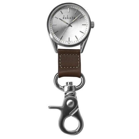 Dakota Classic Dress Clip Watch-Silver Case-Leather Fob-Watches-Dakota Watch Co-Garibaldi General