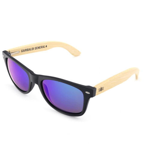 Garibaldi General Washburn Classic Bamboo Sunglasses-Sunglasses-Garibaldi General-Blue Lens-Garibaldi General