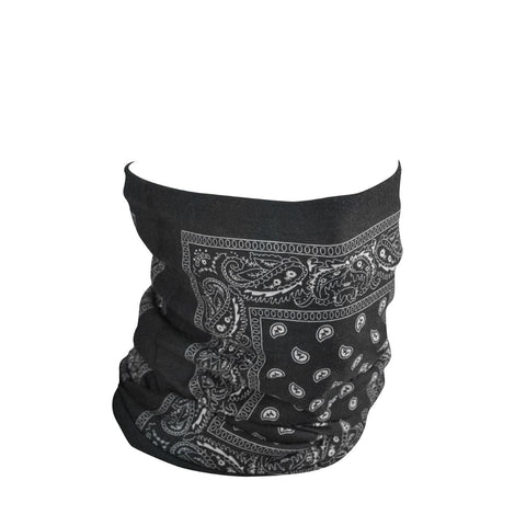 ZanHeadgear Motley Tube Fleece Lined Black Paisley-Head & Neck-ZANheadgear-Garibaldi General
