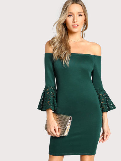 Robe habillée bodycon manche cloche