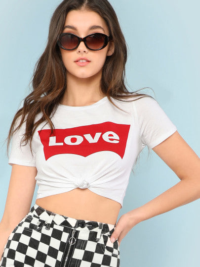 Tee-shirt court imprimé LOVE