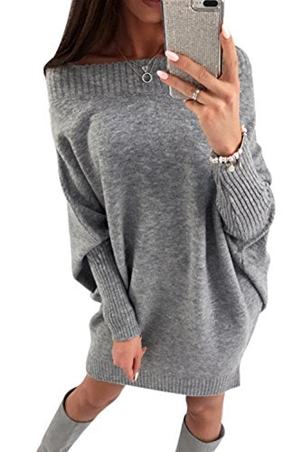YACUN Femmes Robe Hiver de Manches Longues Casual Pulls Mini Robes Grey M