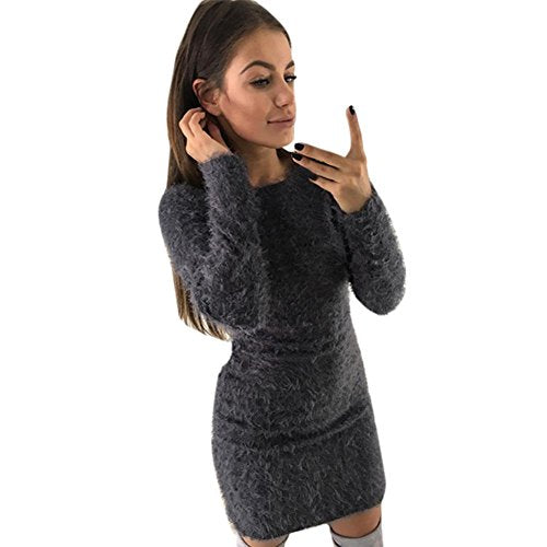 Robe Pull Femme, Amlaiworld Hiver Manches longues Chandail solide Robe Polaire chaud Short mini robe (M, Gris)