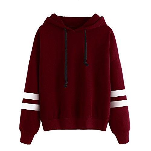 Tonsee Femmes de Long Hoodie Sweatshirt pull Pullover Tops Blouse à manches (S, Rouge)