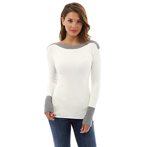 Manadlian Femmes Pulls Sexy O Cou à Manches Longues Jumper Blouse Tops (blanc, S)