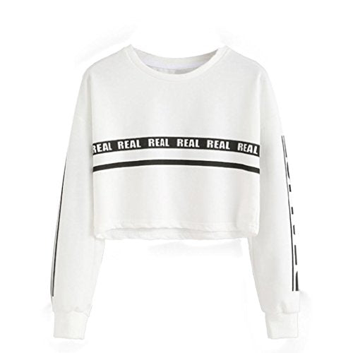 Tonsee Femmes Mode Blanc Lettre Imprimer Surgir Sweat-shirt Top Blouse