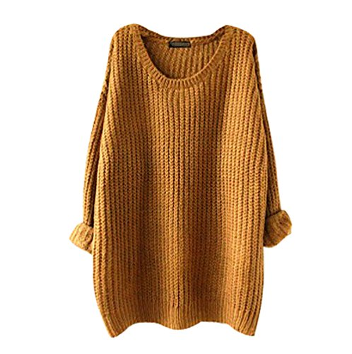 YouPue Casual Femmes Pull En Vrac Manches Longues Col Rond Section Mince Pull Sweater Casual Tricot Chandail Tops Blouse Automne Et Hiver