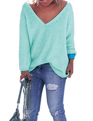 Yidarton Pull Femme Chandails à Manches Longues Casual Col V Pull en Maille Sweater Jumper Tops Tricots