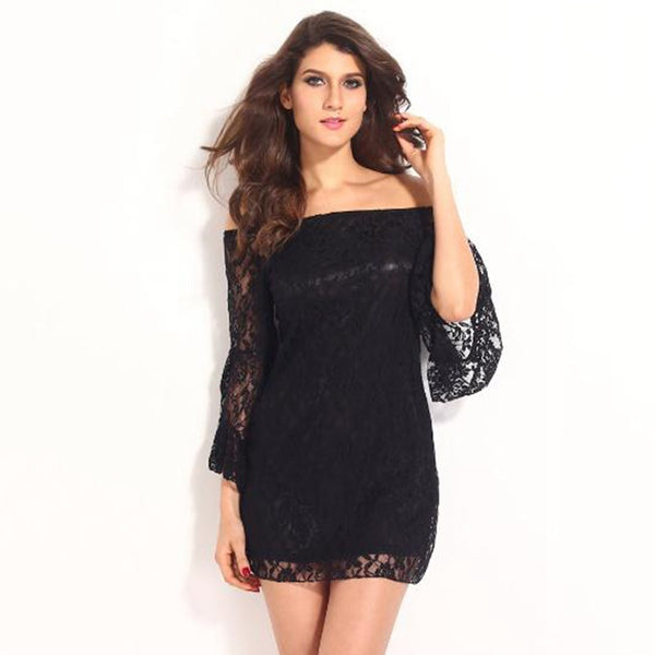 NEW Sexy women  LOOSE Lace off  shoulder Floral Strapless mandarin sleeve Prom Party Cocktail Mini Dress Shirt S-XXL