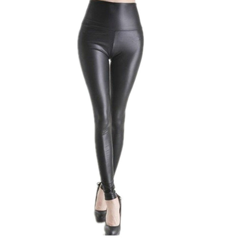 wish | Women Leather Leggings High Waist Pants Stretchy faux Leather Leggings