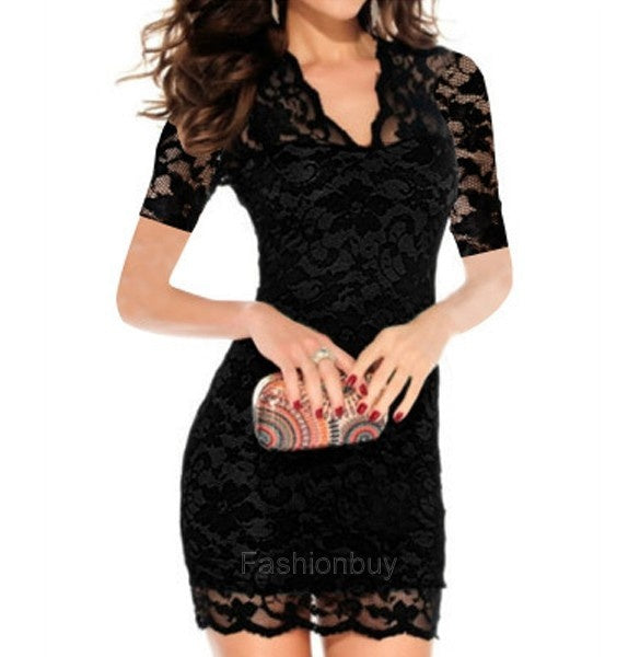 Stylish Women's Sexy V-neck Short Sleeve Lace Bodycon Stretch Casual Party Mini Dress