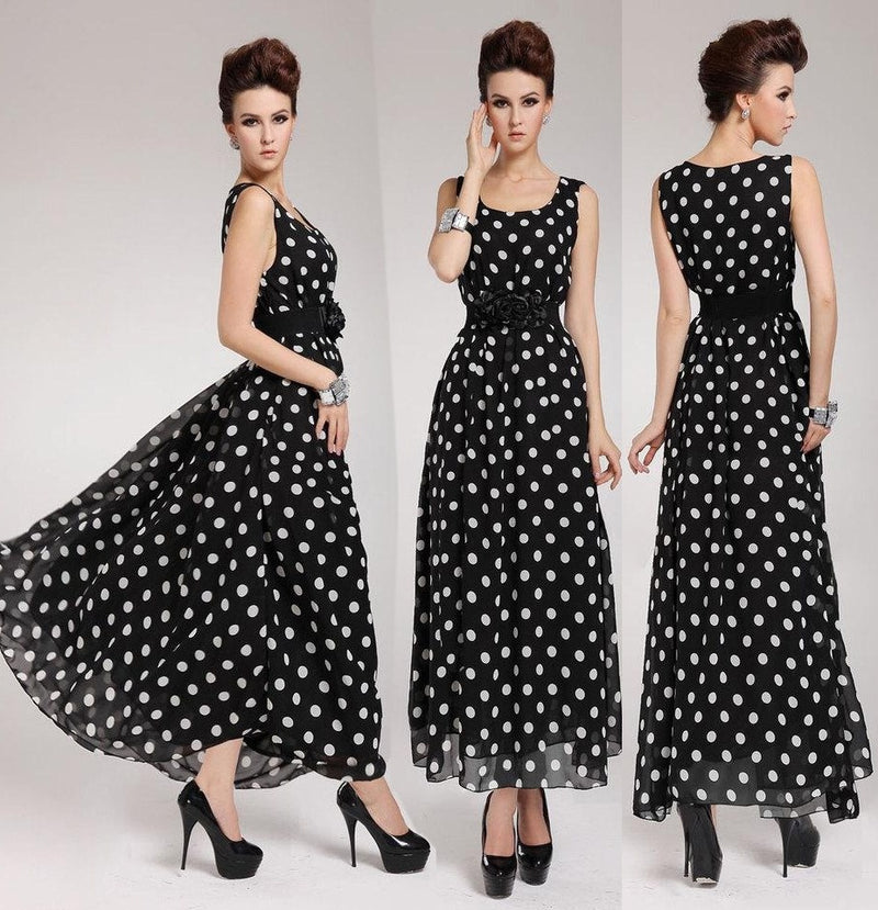 Women's Sleeveless Polka Dot Chiffon Maxi Long Dress Bohemian Beach Sundress