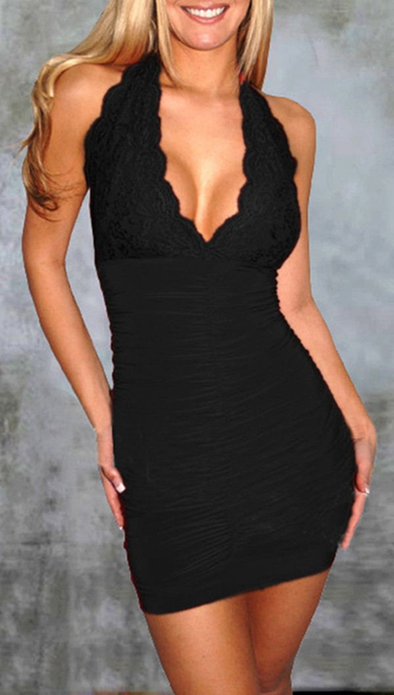 Europe Fashion WOmen Summer Bodycon Black Dresses Deep V neck Bandage Mini Dress - WENDIZ