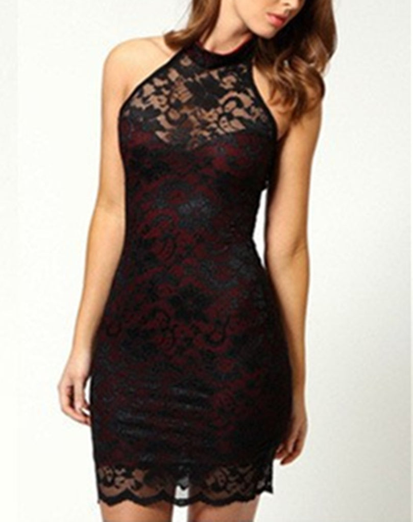 Sexy Fashion Women Lace Slim Dress Elegant Halter Collar Party Dress Vestidos Femininos