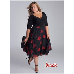 Women Sexy V-neck Patchwork Floral Dress A-line Irregular Elegant Plus Size Party Dress