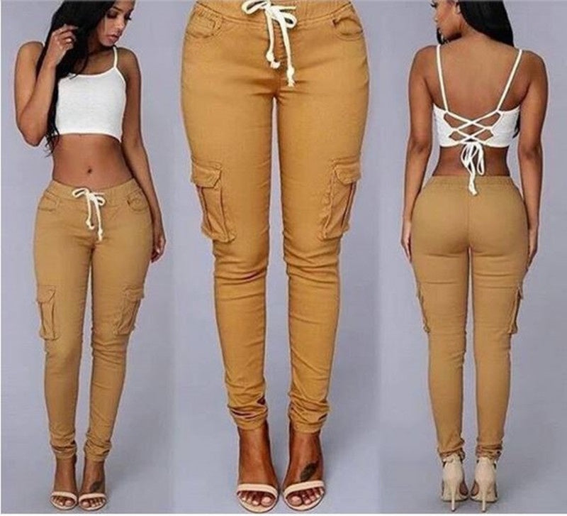Femmes Fashion Low taille Lace Up pantalon crayon occasionnel - WENDIZ