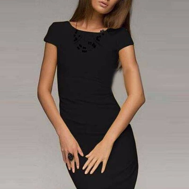 Ladies Sexy Fashion O Neck Bodycon Pencil Slim Business Solid Party Cocktail Dress