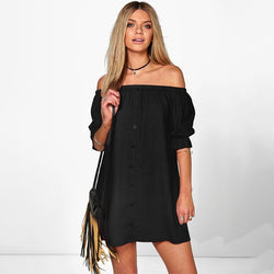Women Sexy Off Shoulder Shirt Dress Fashion Short Sleeves Mini Dress Casual Slash Neck Long Blouse Dress