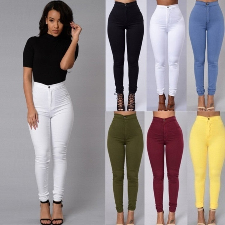 wish | Womens Casual Vintage Skinny Trousers Slim Elastic Waisted Pants