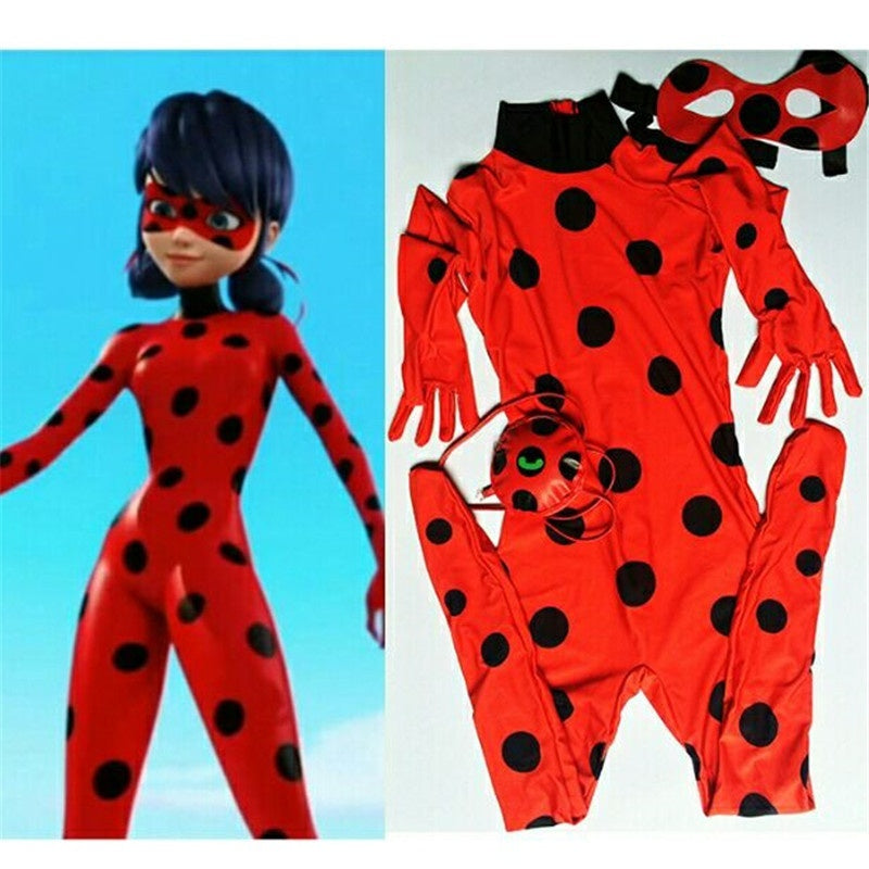 wish | Fashion Gift Girl Kids Costume The Miraculous Ladybug Girl Cosplay Costume Halloween Ladybug Girls Children Spandex Full Lycra Zentai Suit