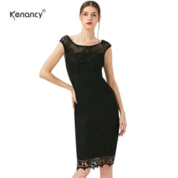Kenancy Elegant Lace Fitted Stretch Bodycon Party Mermaid Pencil Sheath Wiggle Dress S-5XL