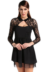 2015 Womens Sexy Backless Slim Lace Long Sleeve Club Cocktail Mini Dress - WENDIZ