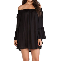 Summer Fashion Women Boho Dress Chiffon Off the Shoulder Flare Sleeve Sexy Draped Slash Shoulder Loose Dress