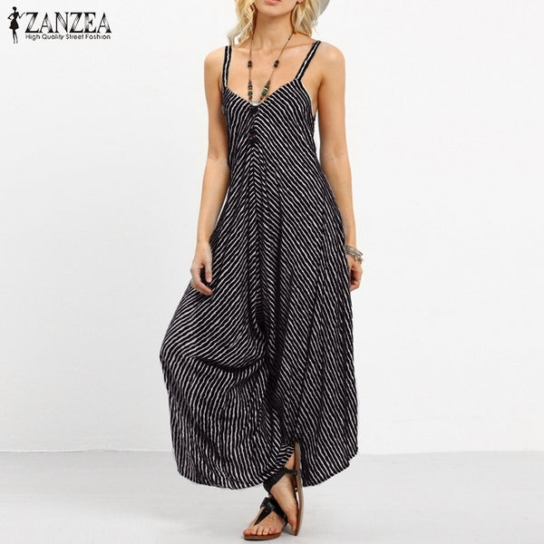 ZANZEA Plus Size Long Black Rompers Women Jumpsuit Sexy Strapless Casual Striped Loose Overalls