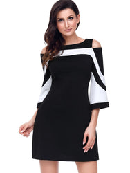 color block Cold Shoulder A-line Dress - WENDIZ