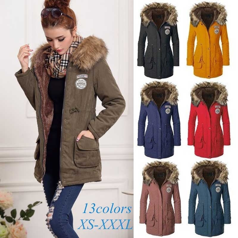 wish | New Fashion, Winter Coat, Women's Jacket, Warm Coat, Thick Fur Collar, Chunky Lady, Large Xs-3xl and 13 Colors.